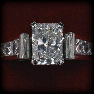 Radiant diamond engagement ring at Biris Jewelers near Canton, Ohio