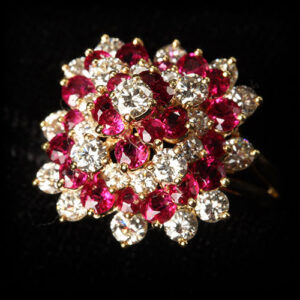Ruby and Diamond Ring Set in 18k Yellow Gold