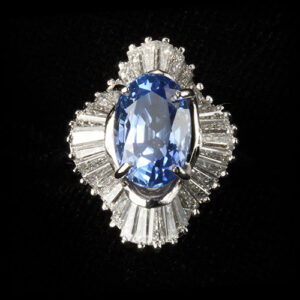 Beautiful Oval Shaped Blie Sappire and Diamond Ring at Biris Jewelers in Canton Ohio