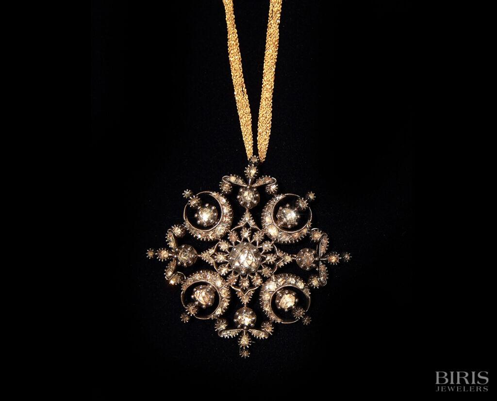 Necklace-georgian-diamond-silver-on-gold