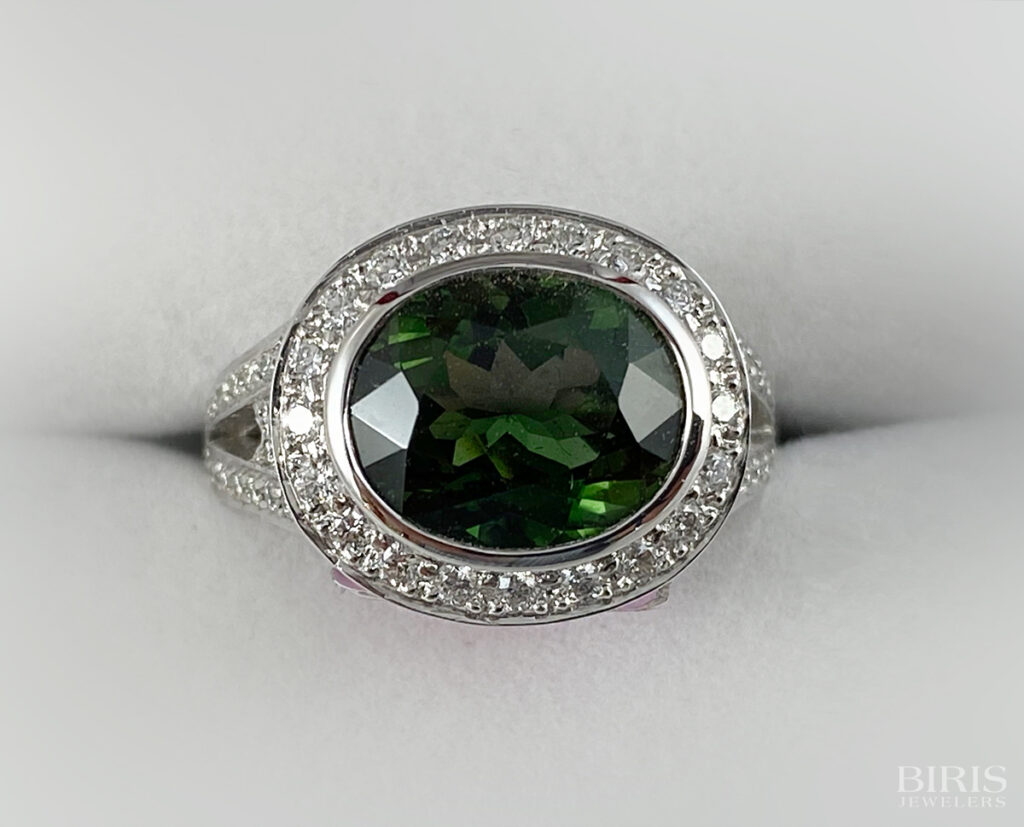Oval Shaped Green Tourmaline and Diamond Ring