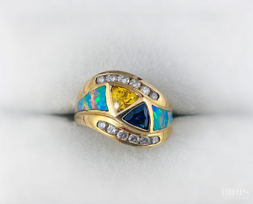 Multiple Precious Stones and Diamond Band