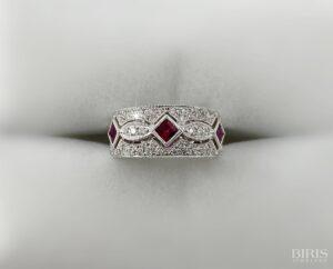 Garnet Birth Stone and Diamond Ring