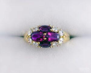 Flower Shaped Diamond and Precious Stone Ring