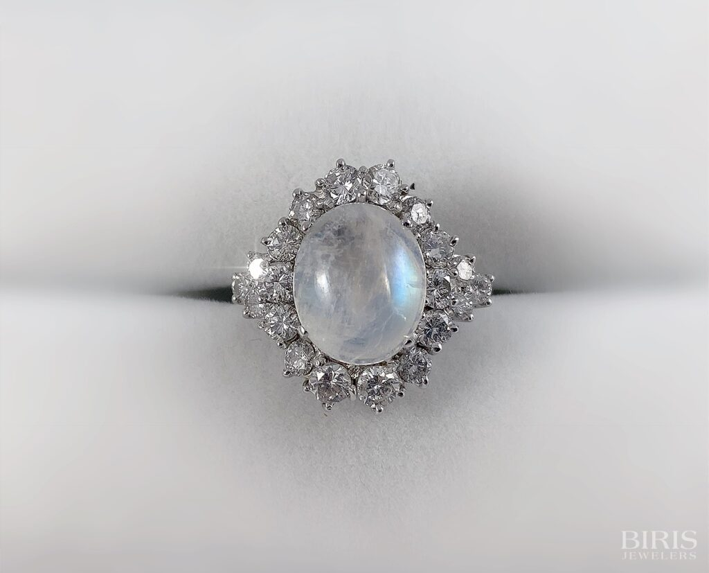 Vintage Moonstone and Diamond Ring