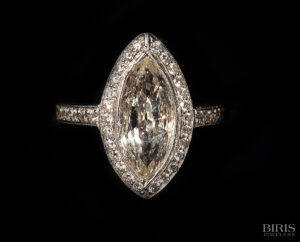 Vintage 2ct. Marquise shape diamond mounted In a custom diamond mounting.